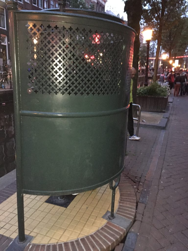 A public toilet along the canal in Amsterdam's Red Light District