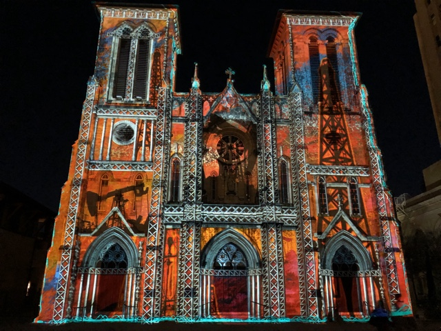 Photo of nightly light show The Saga at San Fernando Cathedral in San Antonio Texas