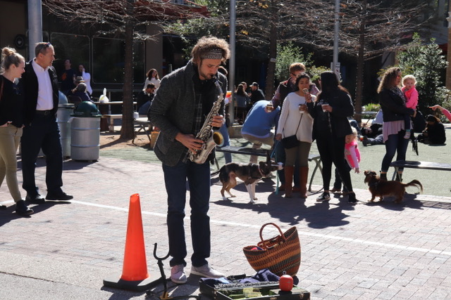 A Saxophone Player Entertains Visitors at Pearl Brewery