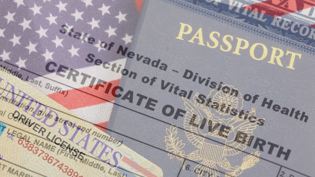 Composite image of birth certificate, drivers license, and united states passport